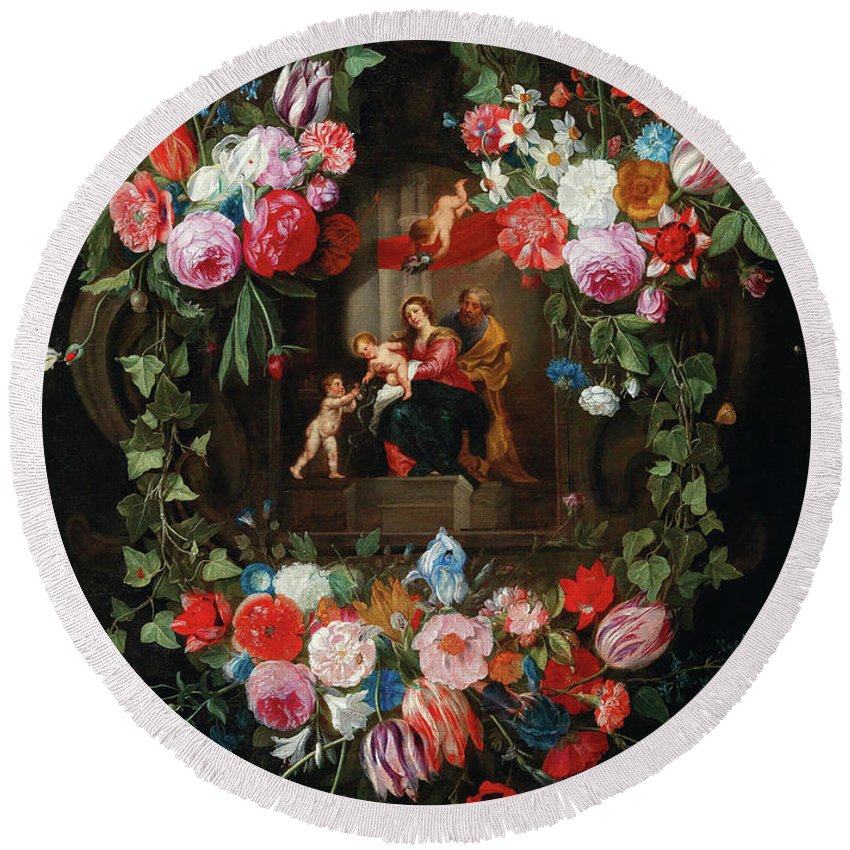 Wreath Of Flowers Round Beach Towel featuring the painting A Wreath Of Flowers Surrounding A Cartouche With The Holy Family And Putti by Jan van Kessel