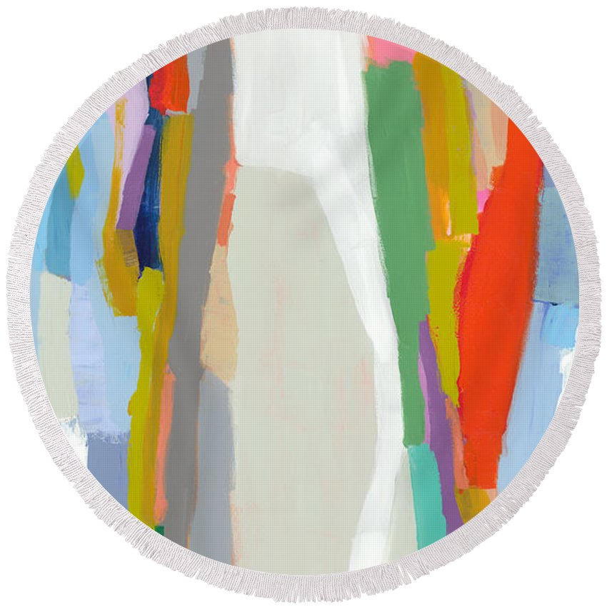 Abstract Round Beach Towel featuring the painting Aaron And His Greens by Claire Desjardins