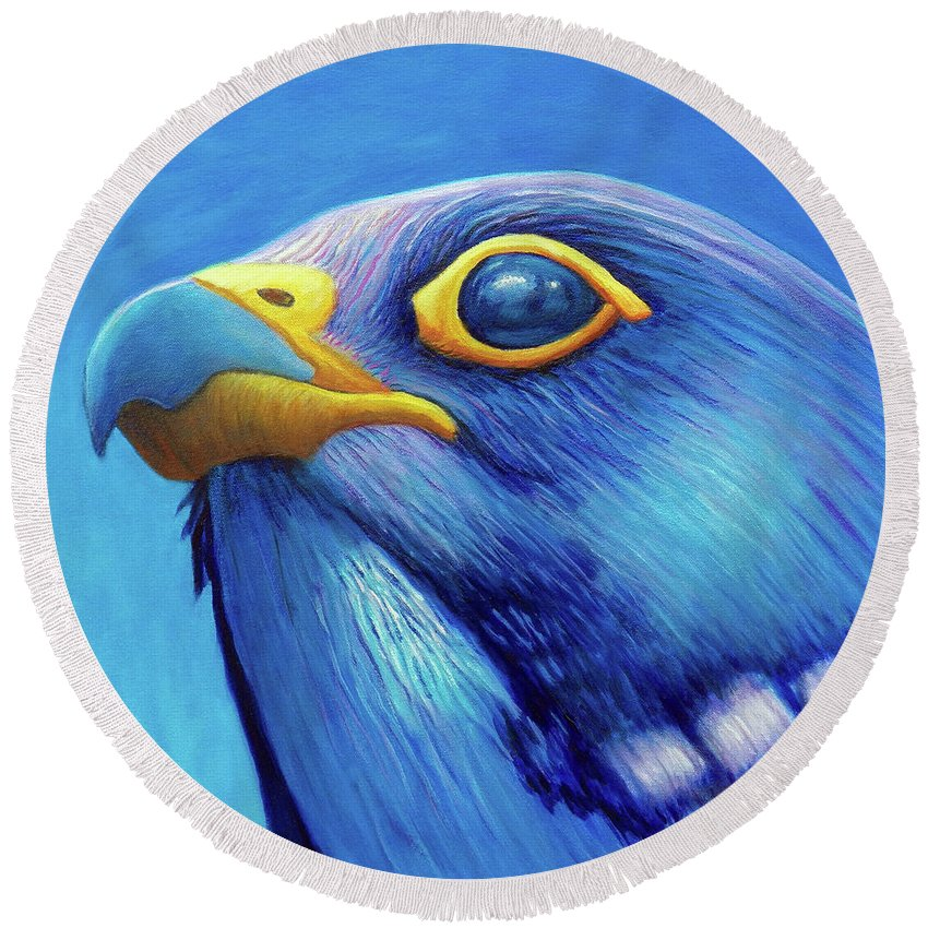 Falcon Round Beach Towel featuring the painting Above and Beyond by Brian Commerford