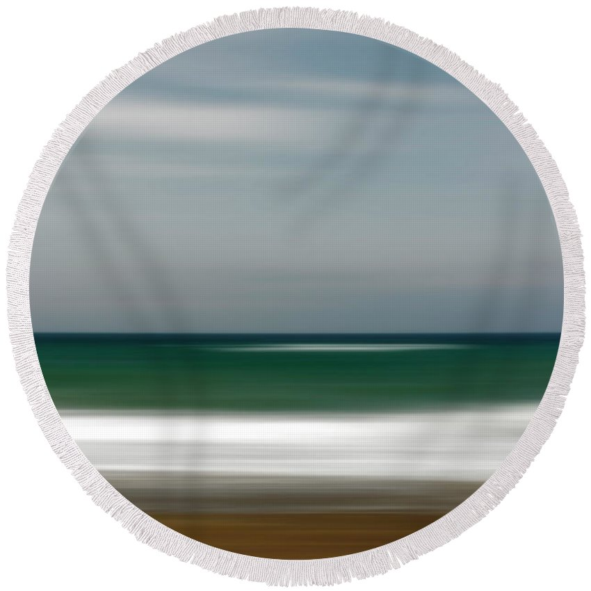 Photography Round Beach Towel featuring the photograph Abstract Waves by Vicente Sargues