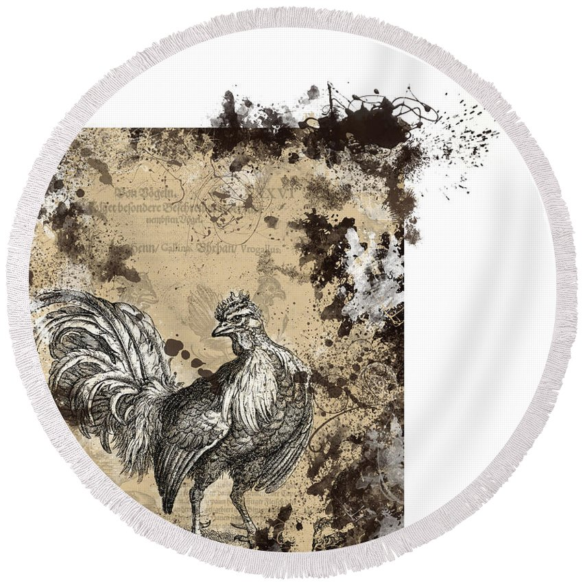 Antique Poultry Prints Grunge Modern Round Beach Towel featuring the digital art Adam Lonitzer 1593, Barlow 1690 by Sigrid Van Dort