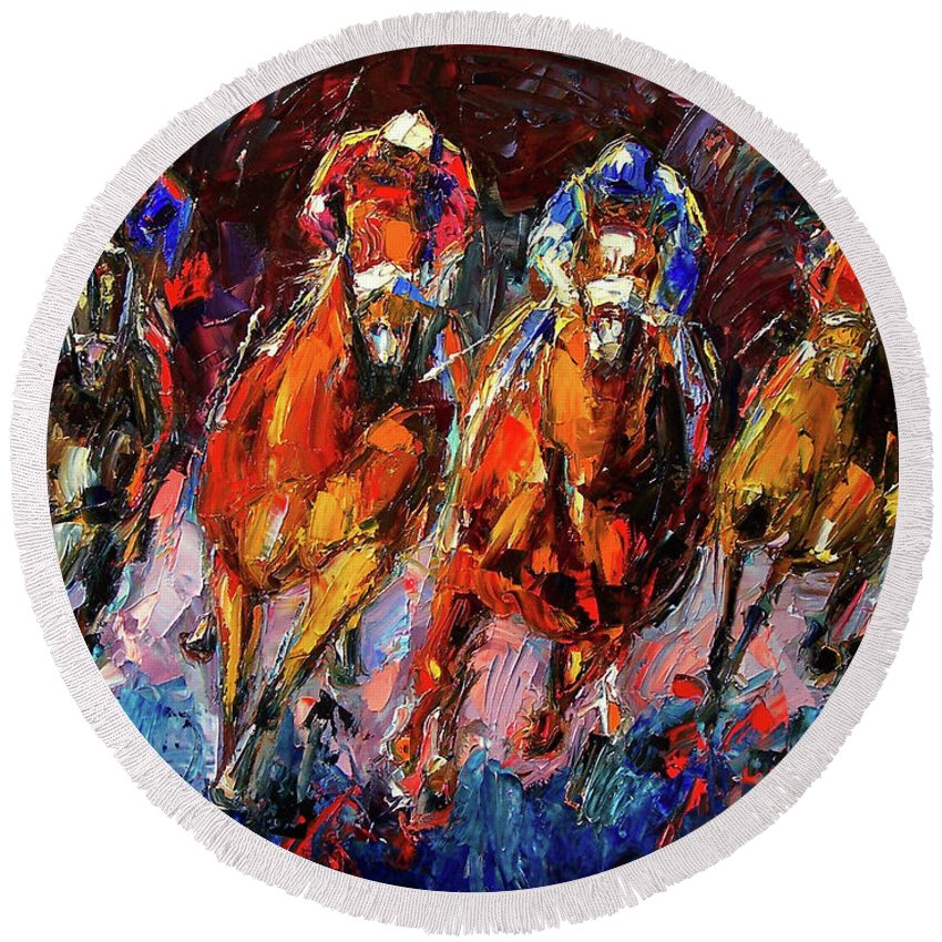 Horse Race Round Beach Towel featuring the painting Adrenalin by Debra Hurd