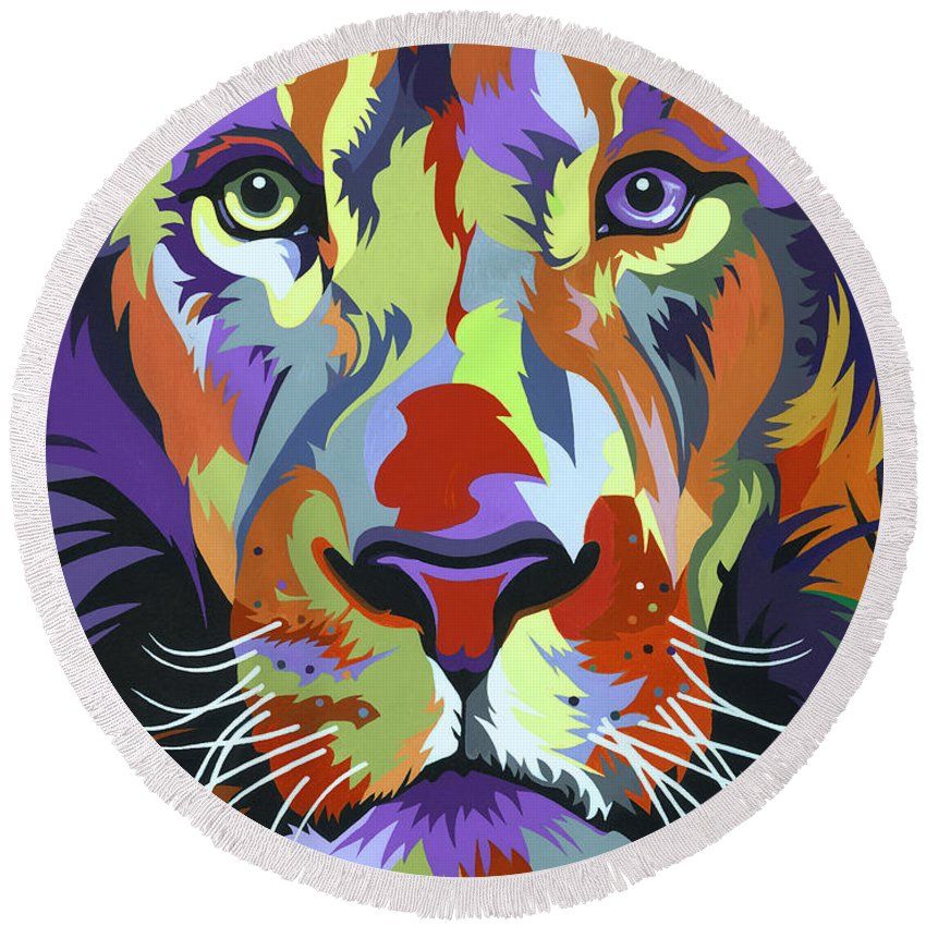 Lion Round Beach Towel featuring the painting African Lion by Jethro Longwe