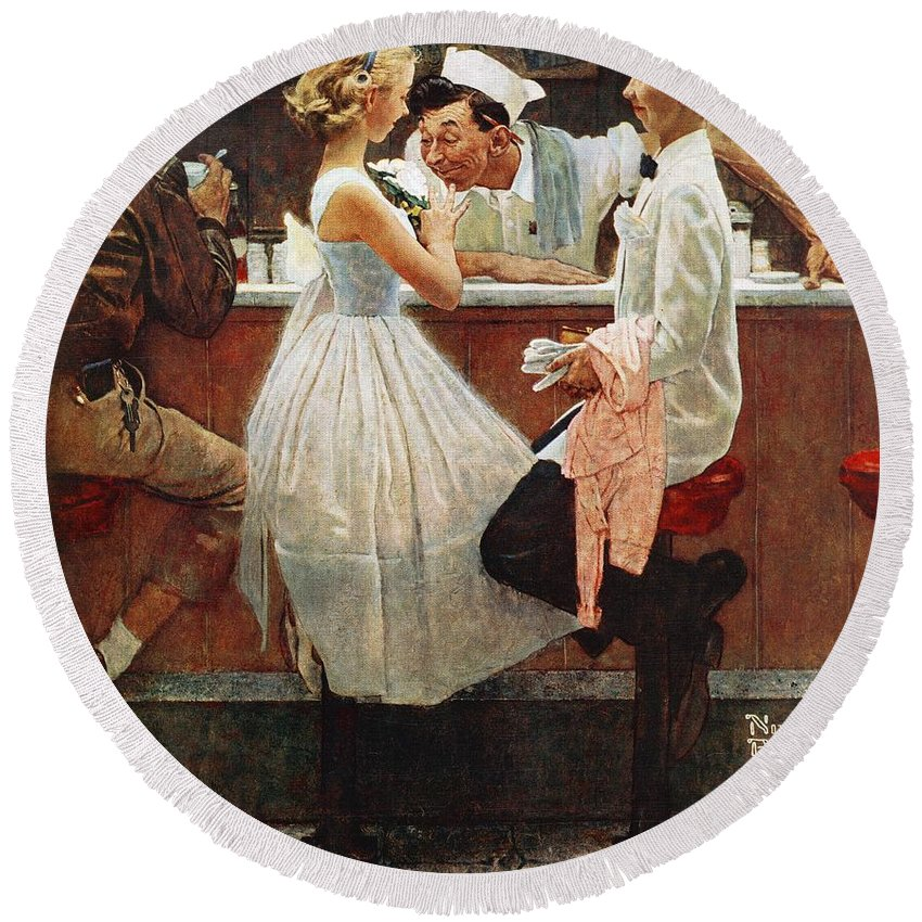 Corsage Round Beach Towel featuring the drawing After The Prom by Norman Rockwell