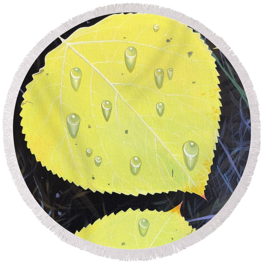 Raindrops Round Beach Towel featuring the painting After the Rain by Hunter Jay