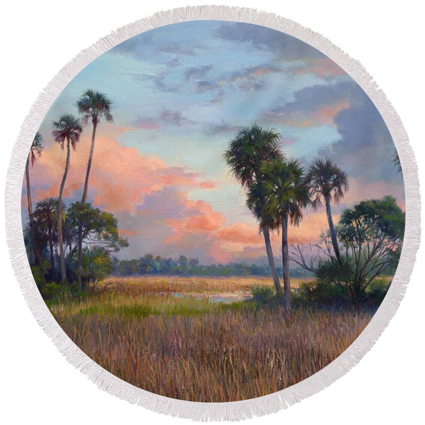 Panoramic Landscape Round Beach Towel featuring the painting After The Storm by Laurie Snow Hein