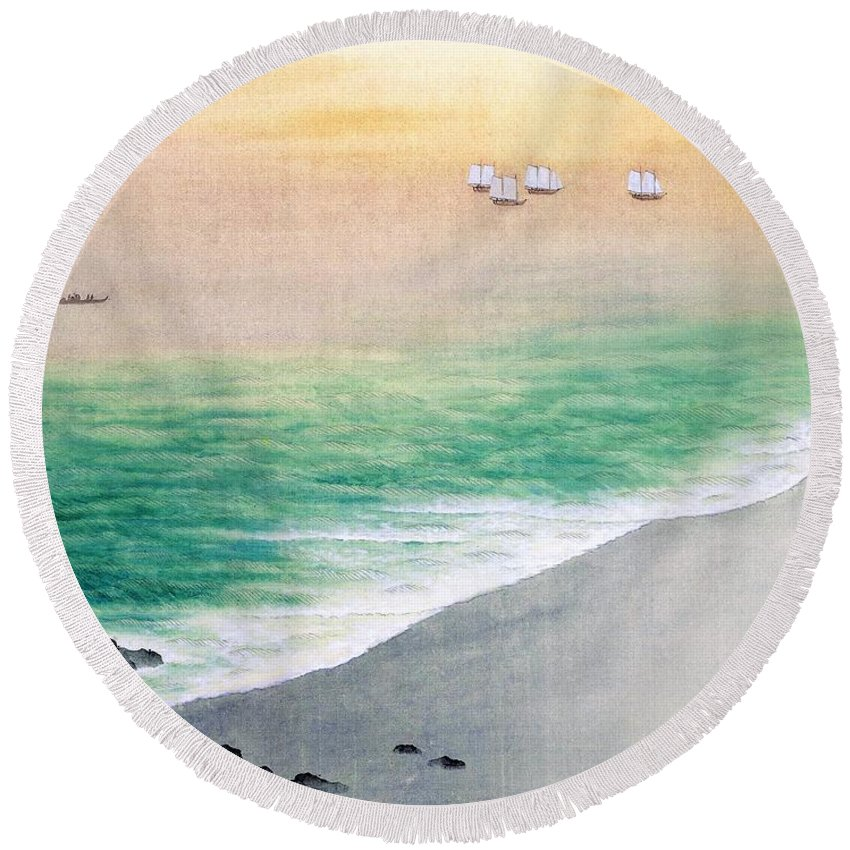 Green Flash Paintings Round Beach Towels