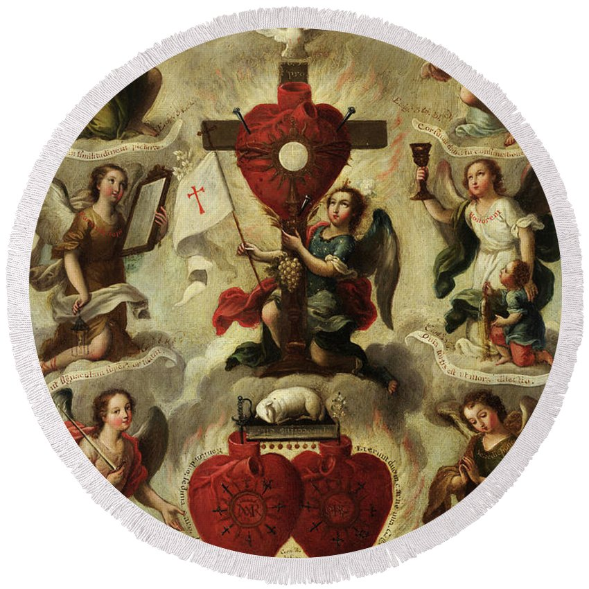 Allegory Round Beach Towel featuring the painting Allegory Of The Holy Eucharist by Miguel Cabrera