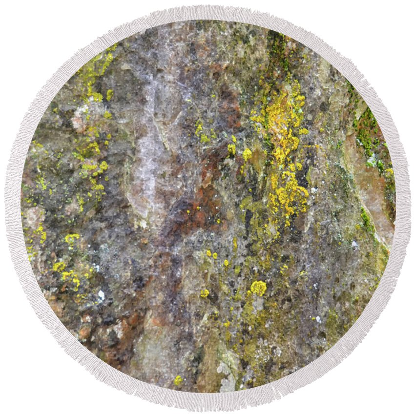 Nature Round Beach Towel featuring the mixed media Along The Trail 3 by Angelina Tamez