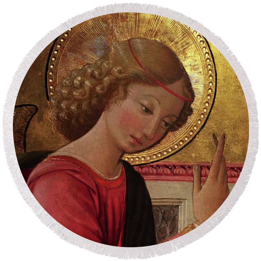 Angel Altarpiece Round Beach Towel featuring the painting Altarpiece Angel Antique Christian Catholic Religious Art by Tina Lavoie