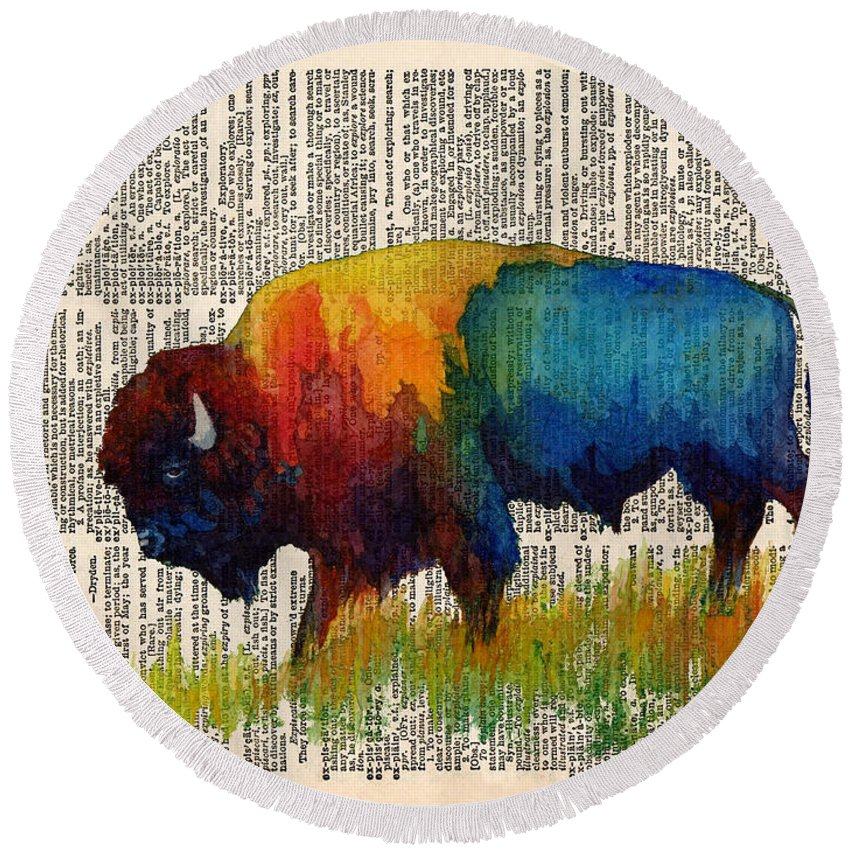 Bison Round Beach Towel featuring the painting American Buffalo III on Vintage Dictionary by Hailey E Herrera