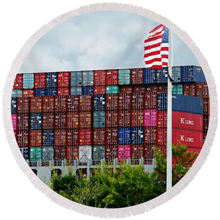 Shipping Round Beach Towel featuring the photograph American Georgia Shipping Trade by Diann Fisher