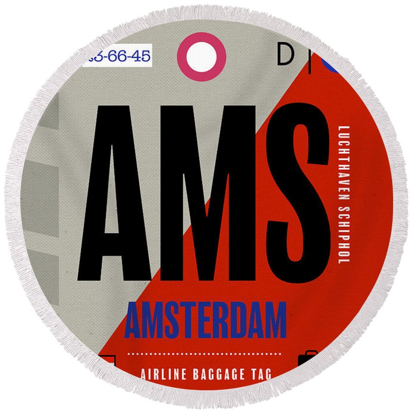 Amsterdam Round Beach Towel featuring the mixed media Amsterdam Ams Airport Baggage Claim Tag Travel Series by Design Turnpike