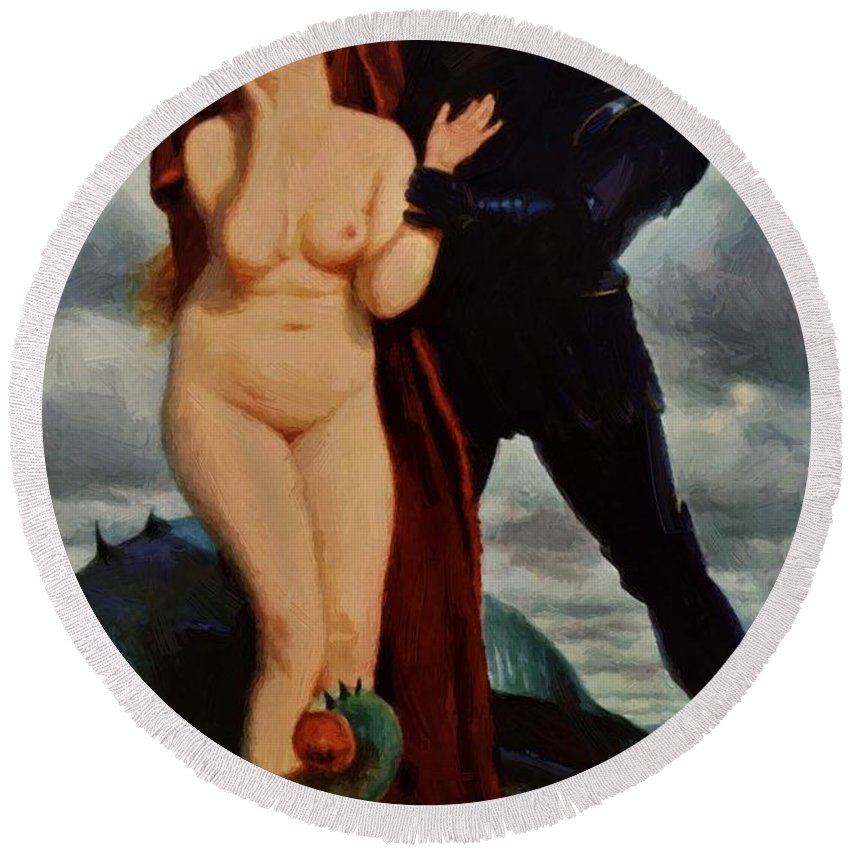 Angelika Round Beach Towel featuring the painting Angelika Guarded By A Dragon by Bocklin Arnold