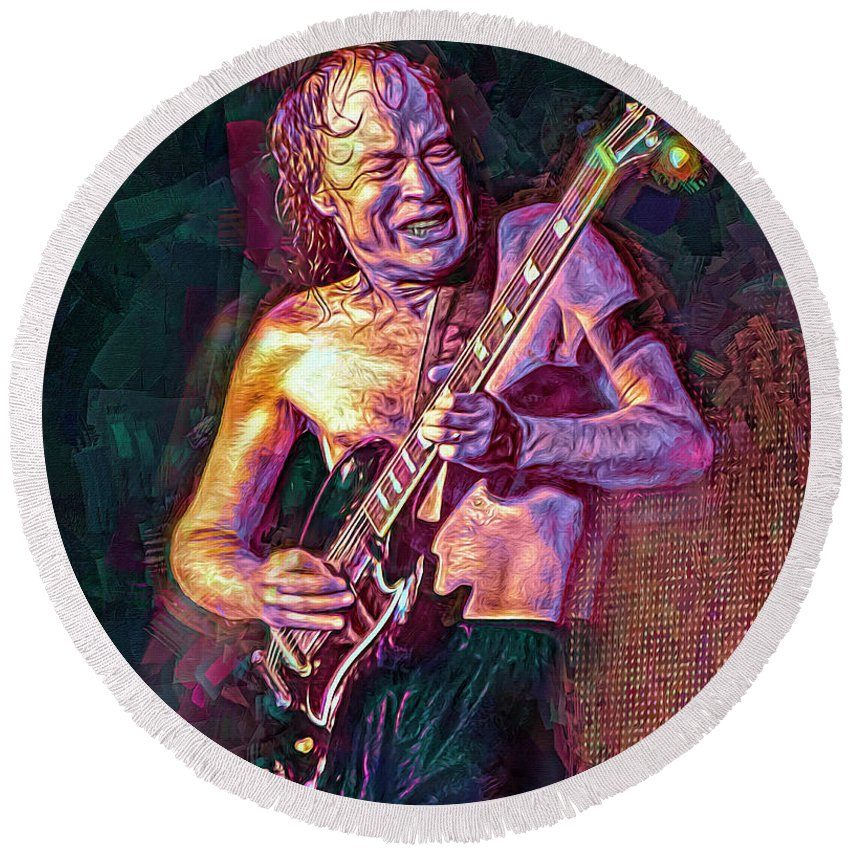 Angus Young Round Beach Towel featuring the mixed media Angus Young by Mal Bray