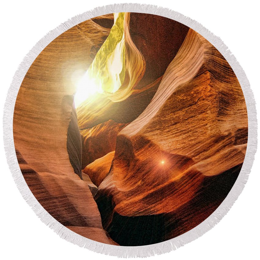 Antelope Canyon Round Beach Towel featuring the photograph Antelope Canyon by Douglas Barnard