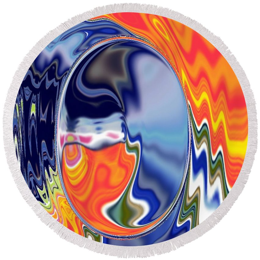 Abstract  Artwork Round Beach Towel featuring the digital art Ooo by A z akaria Mami