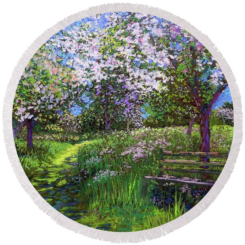 Sun Round Beach Towel featuring the painting Apple Blossom Trees by Jane Small