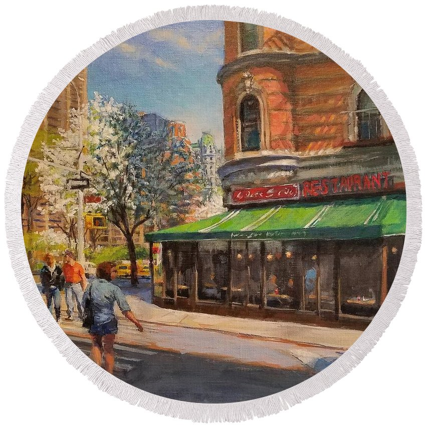 Urban Landscape Paintings Round Beach Towel featuring the painting April Morning On Broadway by Peter Salwen