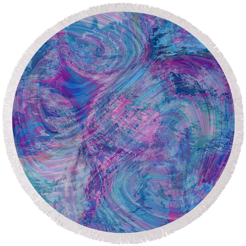 Nonobjective Round Beach Towel featuring the digital art Aqueous Meditations #01 by James Fryer