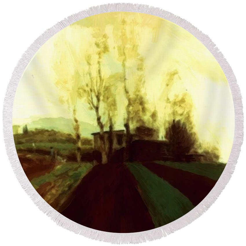 Arable Round Beach Towel featuring the painting Arable Land Corridors In The Early Spring by Bocklin Arnold