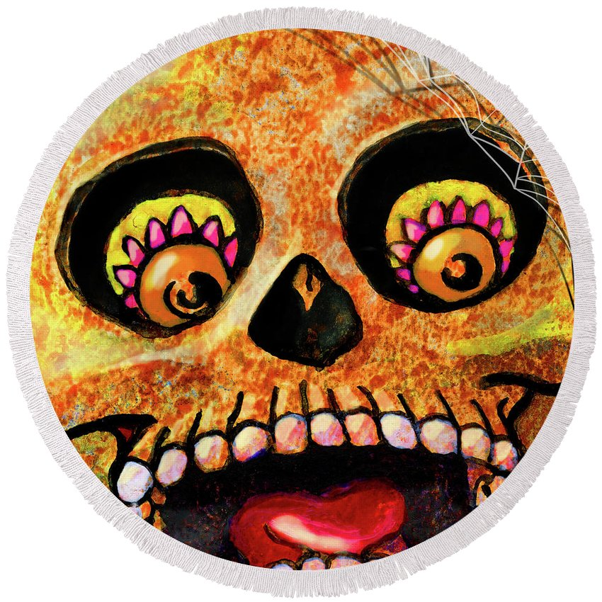 Day Of The Dead Round Beach Towel featuring the painting Aranas Sugarskull Of Spiders by Miko Zen
