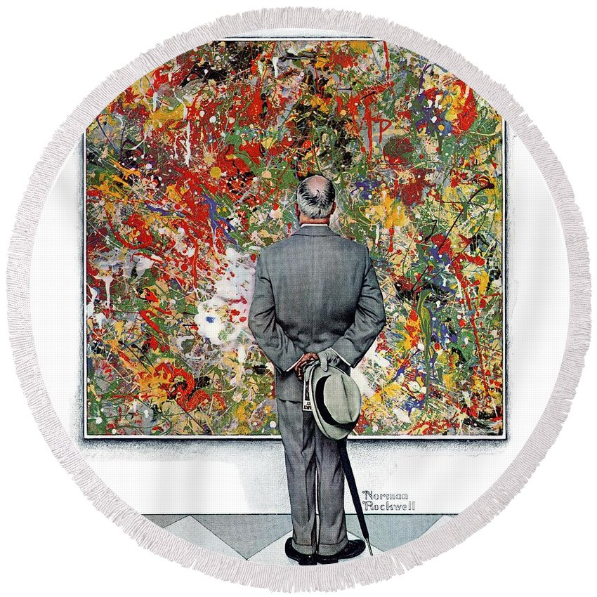 Art Round Beach Towel featuring the drawing Art Connoisseur by Norman Rockwell