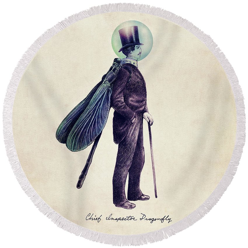 Vintage Round Beach Towel featuring the drawing Inspector Dragonfly by Eric Fan
