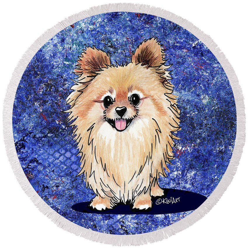 Pom Round Beach Towel featuring the painting Bella Galaxy by Kim Niles