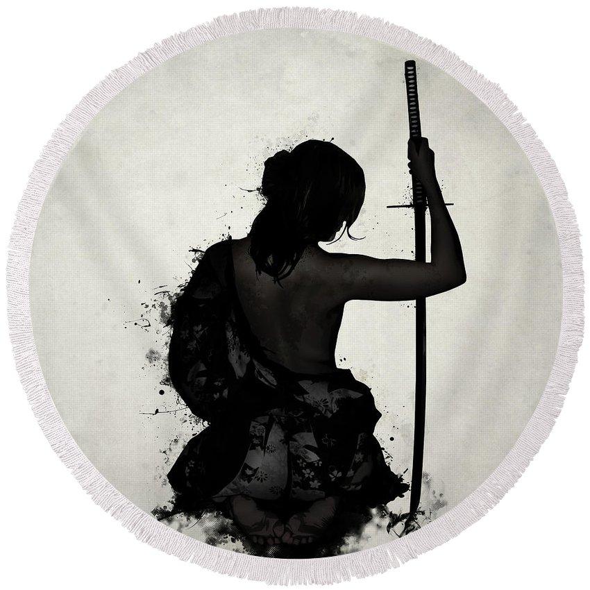 Female Round Beach Towel featuring the digital art Female Samurai - Onna Bugeisha by Nicklas Gustafsson