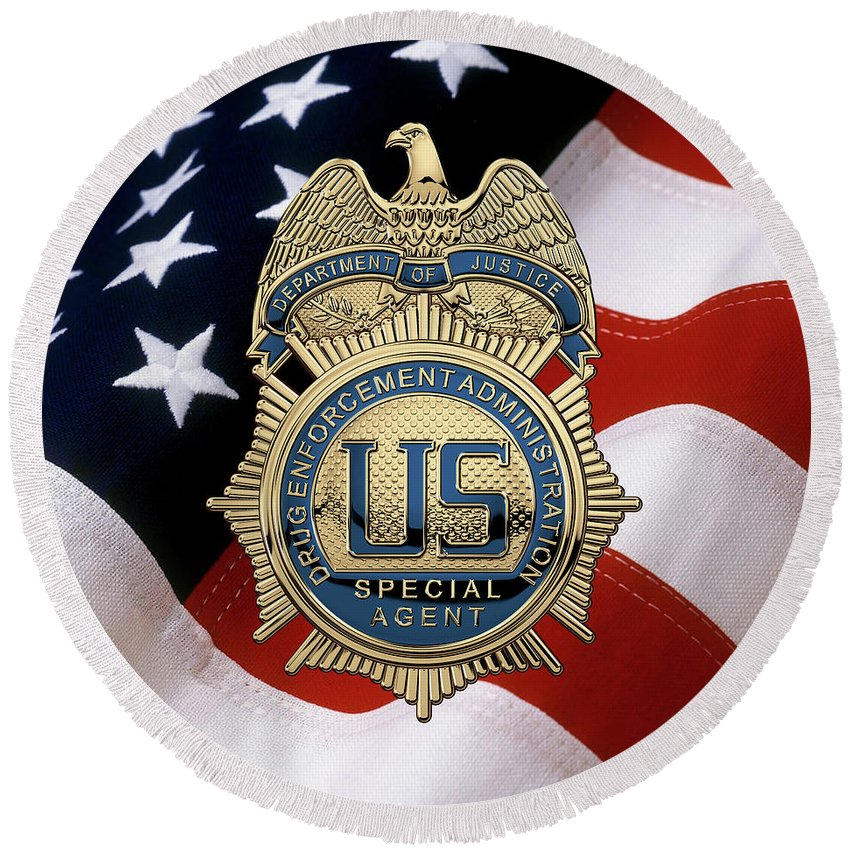 Drug Enforcement Administration - D E A Special Agent Badge Over American  Flag Round Beach Towel
