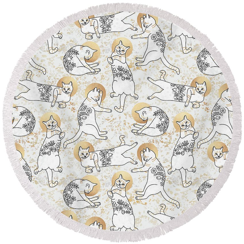 Cat Round Beach Towel featuring the digital art Floral Cats by Elisabeth Fredriksson