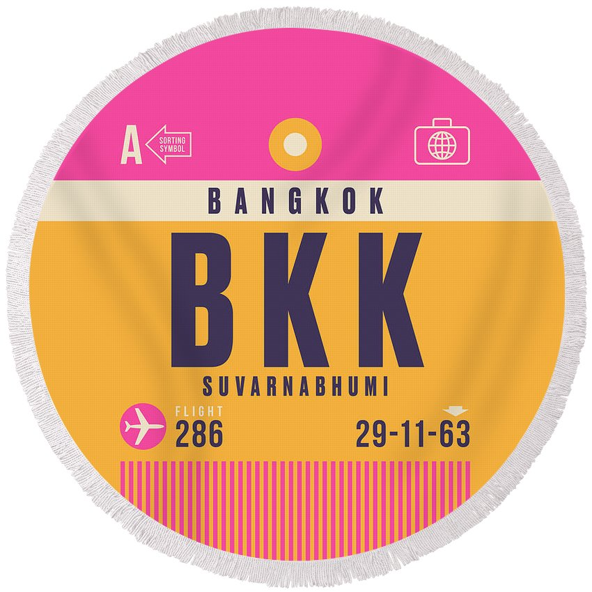 Airline Round Beach Towel featuring the digital art Retro Airline Luggage Tag - Bkk Bangkok Thailand by Organic Synthesis