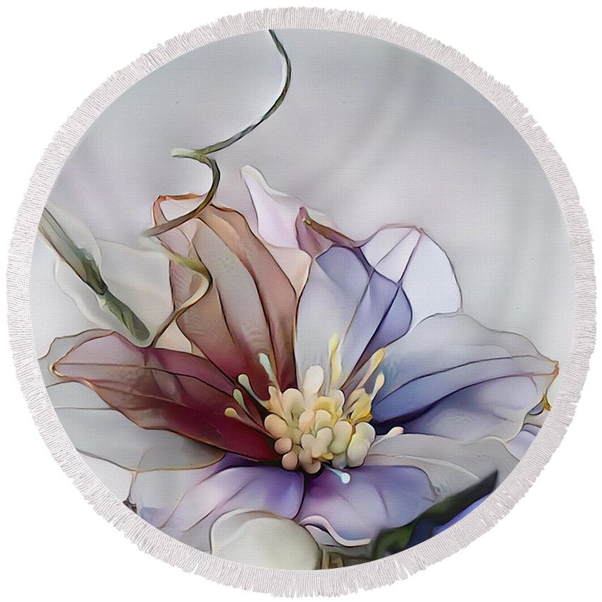 Nature Round Beach Towel featuring the mixed media Flower Fantasy - Decoration by Klara Acel