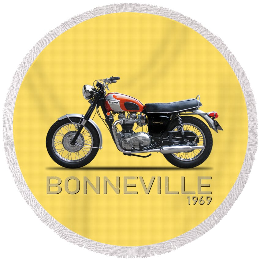 Triumph Bonneville 1969 Round Beach Towel For Sale By Mark Rogan