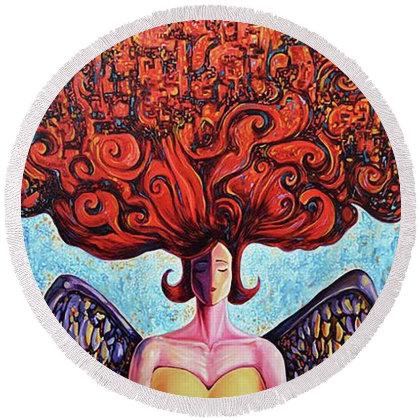 Surrealism Round Beach Towel featuring the painting As above, so bellow by Darwin Leon