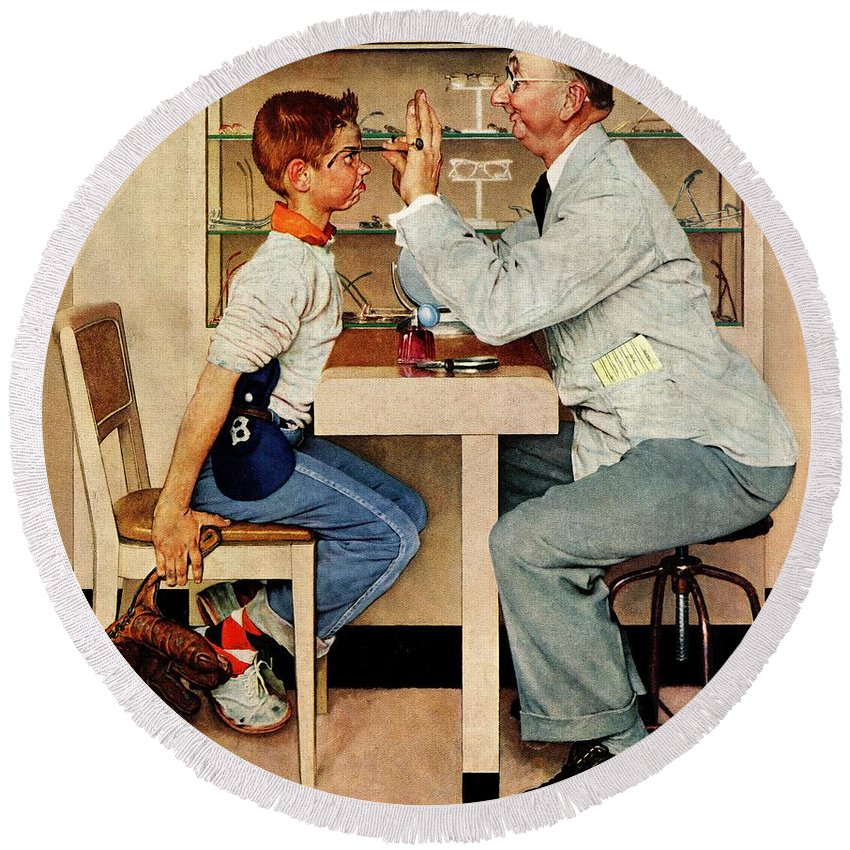 Boys Round Beach Towel featuring the drawing At The Optometrist by Norman Rockwell