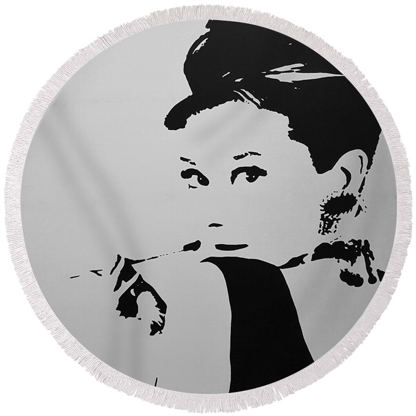 Audrey Hepburn Round Beach Towel featuring the photograph Audrey B W by Rob Hans
