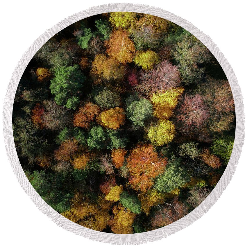 Drone Round Beach Towel featuring the photograph Autumn Forest - Aerial Photography by Nicklas Gustafsson