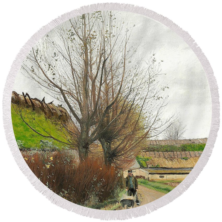 19th Century Art Round Beach Towel featuring the painting Autumn Weather. A Man With A Wheelbarrow On A Path by Laurits Andersen Ring