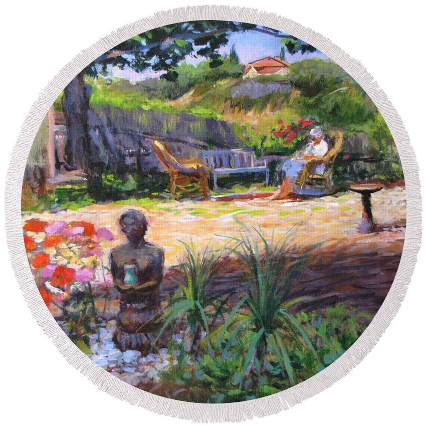 California Round Beach Towel featuring the painting Ava's Garden, San Diego by Peter Salwen