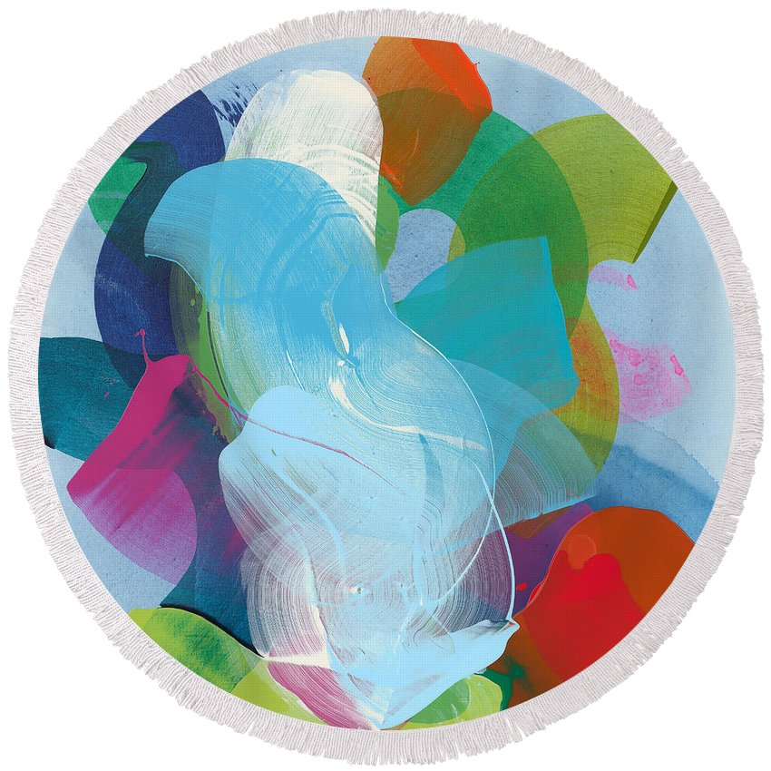 Abstract Round Beach Towel featuring the painting Away A While by Claire Desjardins