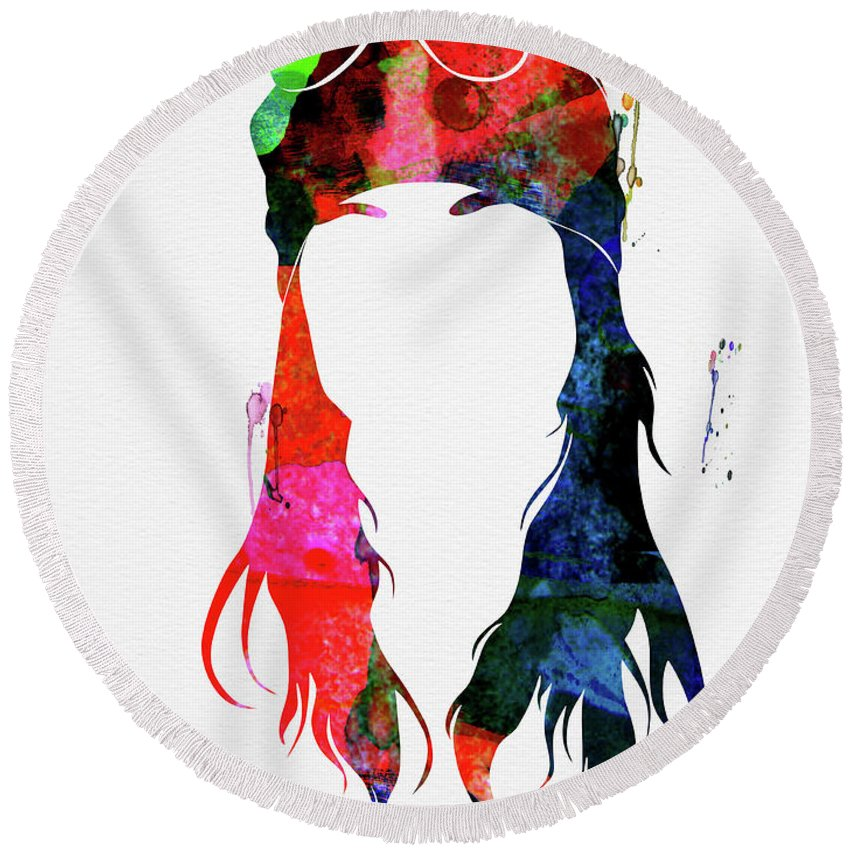 Axl Rose Round Beach Towel featuring the mixed media Axl Rose Watercolor by Naxart Studio