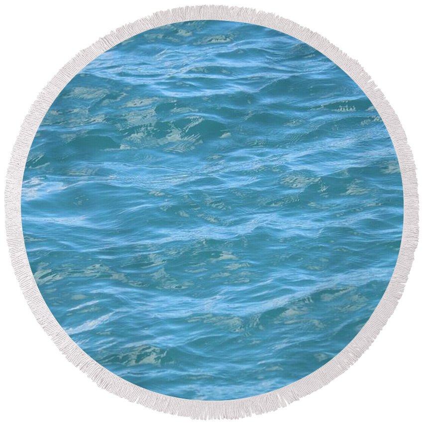 Aqua Round Beach Towel featuring the photograph Bahamas Blue by Carol Groenen
