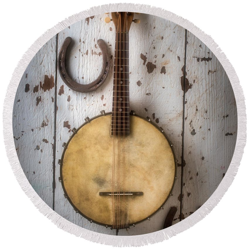 American Round Beach Towel featuring the photograph Banjo And Horseshoes by Garry Gay
