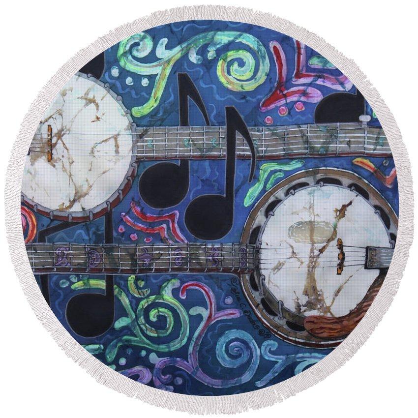 Banjos Round Beach Towel featuring the painting Banjos by Sue Duda