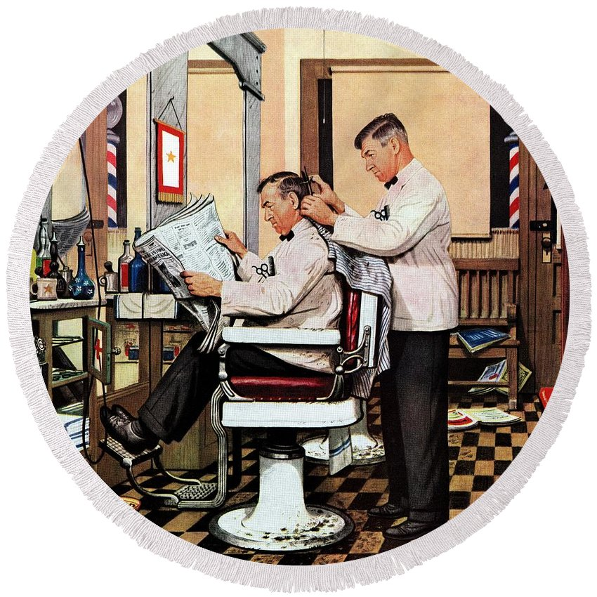 Barbers Round Beach Towel featuring the drawing Barber Getting Haircut by Stevan Dohanos