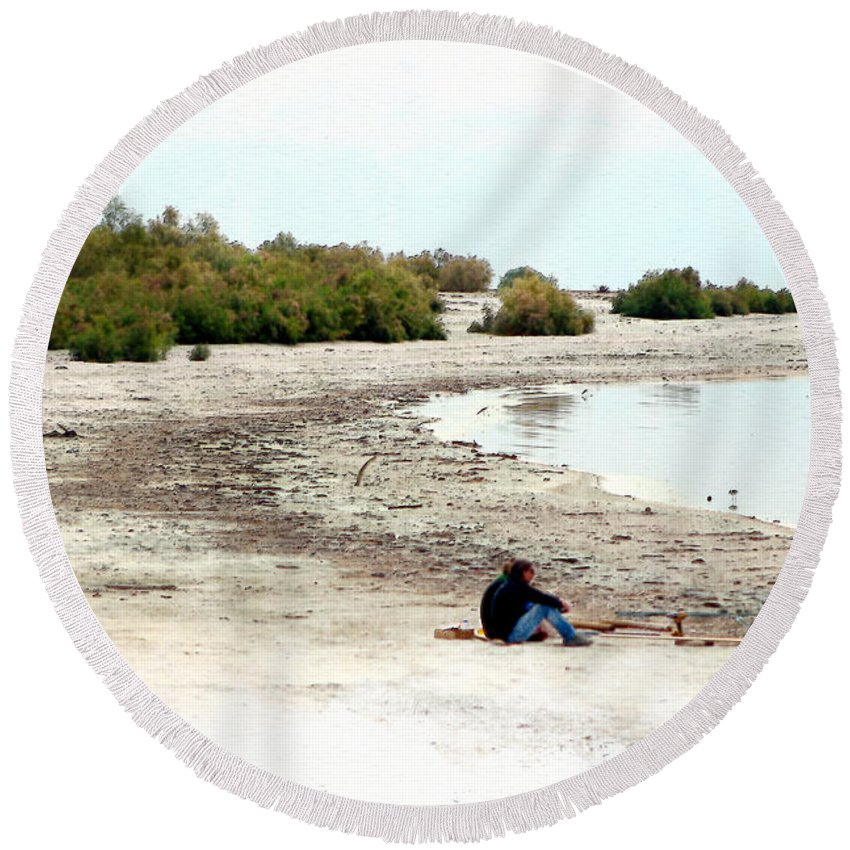 Watercolor Round Beach Towel featuring the photograph Beach Goers-The Salton Sea in Digital Watercolor by Colleen Cornelius