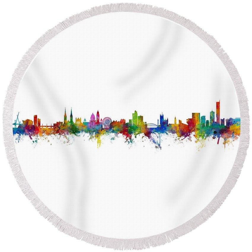 Manchester Round Beach Towel featuring the digital art Belfast And Manchester Skyline Mashup by Michael Tompsett