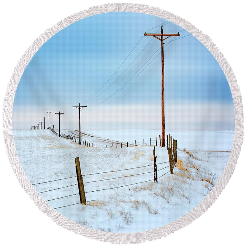 Rural Round Beach Towel featuring the photograph Bend In The Road by Todd Klassy